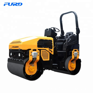 Double drum vibrating road roller for trench construction