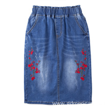 Rose Embroidery Slit Women Denim Jeans Skirt