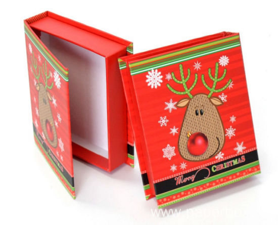 Luxury Printed Red Paper Gift Christmas Paper Box