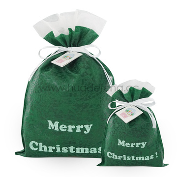 Green Embossed Non-woven Christmas Gift Wrapping Bags