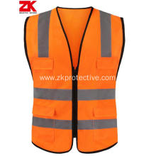 class 2 high visibility zipper front safety vest