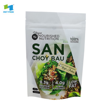 Custom printed compostable stand up pouch sealable packaging food