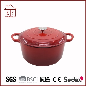 Yellow enamel cast iron casserole with lid