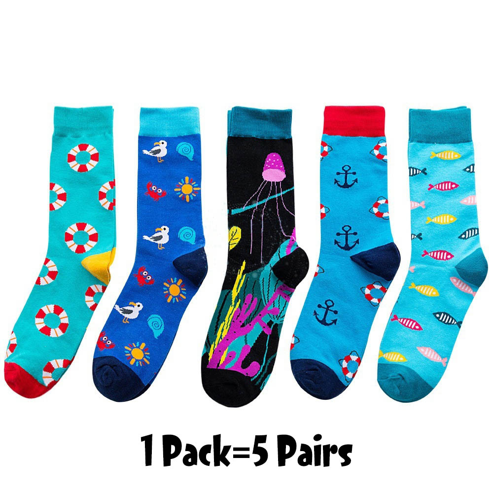 5pairs/pack Fresh Fruits Men Happy Socks Lemon Pineapple Orange Watermelon Strawberry Fish Jellyfish swim ring Ship anchor socks