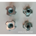 Zinc plated 4 Prongs Disk Tee nuts