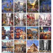 City Landscape Painting By Numbers For Adults DIY Kits HandPainted On Canvas With Framed Oil Picture Drawing Coloring By Number