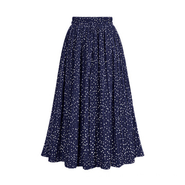 Printed Polka Dot Elastic Polyester Pleated Long Skirt