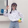 Korean Version Small Fresh Pineapple Print Blouse Shirts Women Spring Summer Top For Women Fashion Buttons Long Sleeve Top Women