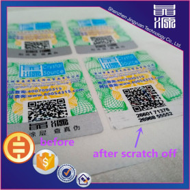Scratch off  with qr code  hologram sticker