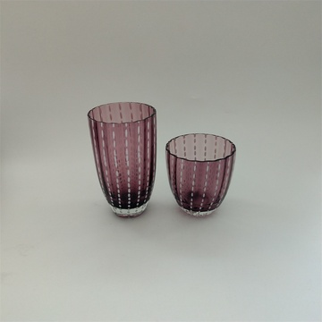 Purple and white dots drinking glass set
