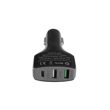 Car Charger 3-USB Ports QC-3.0 Type-C Fast Charger
