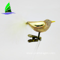 feather tail bird shape clip-on glass ornament