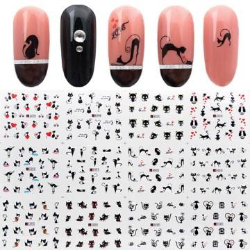 12pcs/set Water Nail Sticker Black Cat Patterns Nail Art Water Decals Cartoon Nail Wrap Sticker Watermark Manicure Tools ZJT3024