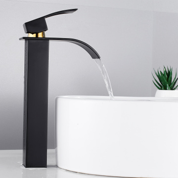 Single Handle Bathroom Basin Faucets Black Waterfall Basin Sink Faucet Hot Cold Mixer Tap Single Hole Wide Spout Vessel Sink Tap