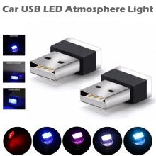 Mini Car Interior Usb Led Lamp Ambient Light Blue White RGB Emergency Decorative Atmosphere Lights Auto Accessories Backlight