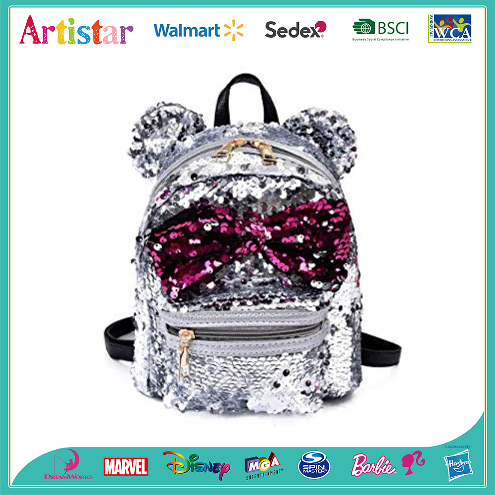 Ears Bowknot sequins backpack