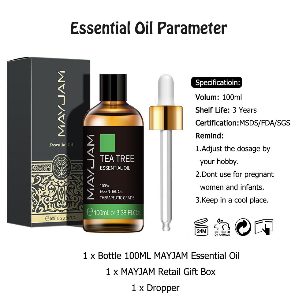 100ml Pure Natural Tea Tree Essential Oils Diffuser Sandalwood Lavender Mint Lemon Ylang Ylang Eucalyptus Vanilla Essential Oil