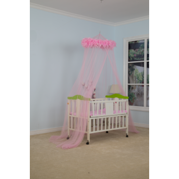 Pink Feather Baby Kids Bed Canopy