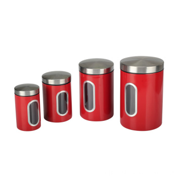 Stainless Steel Window Canister Set with Lids