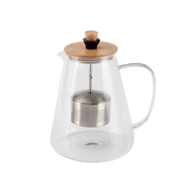 1L glass Tea Pot with Bamboo Lid