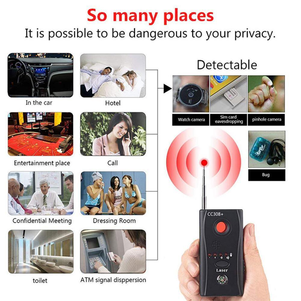 Wireless camera signal detector, multi-function CC308 + radio wave signal camera detector full range wifi RF GSM device finder