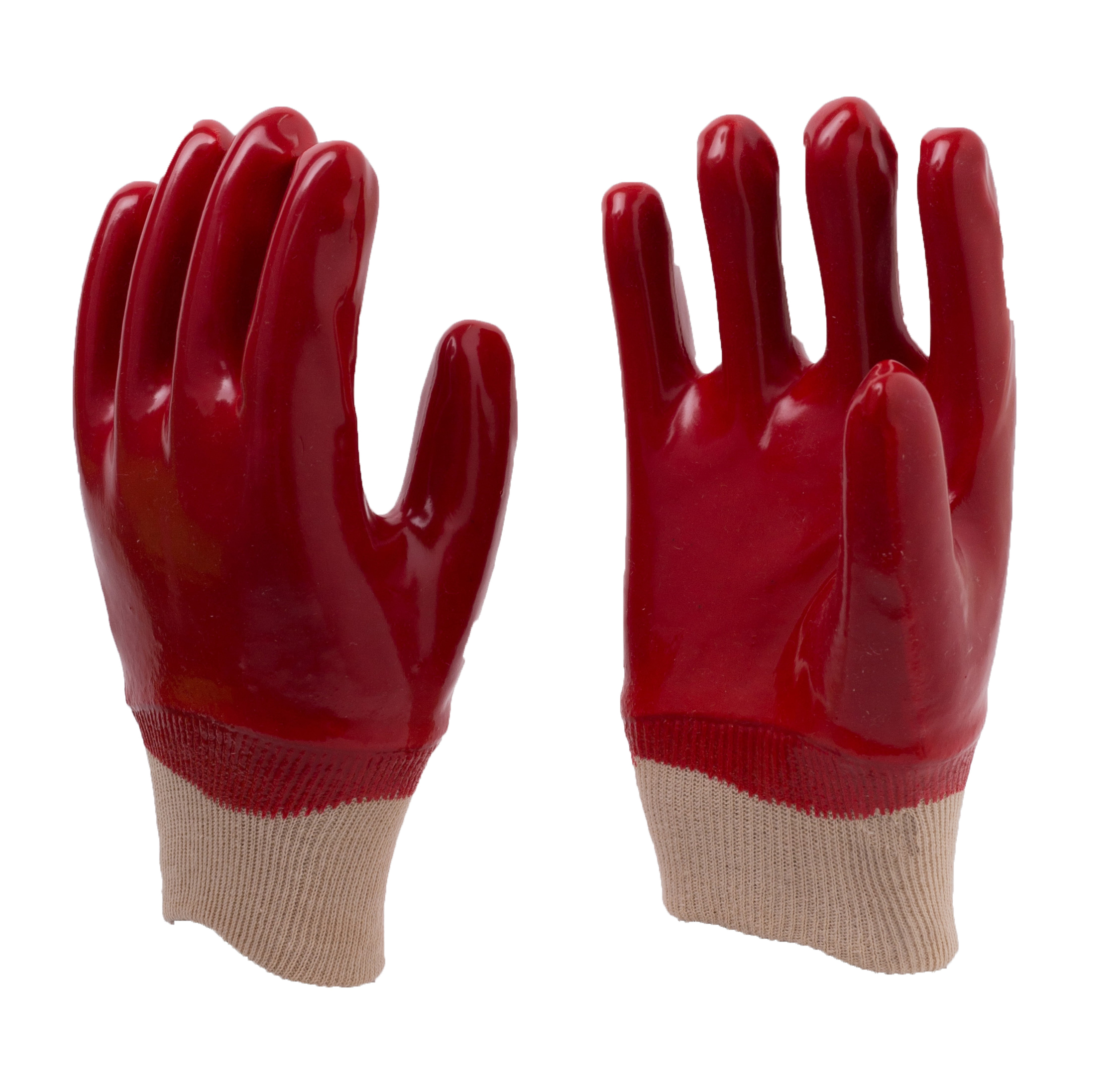 Red PVC fully coated Smooth Finish Gloves