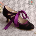 Mary Jane Purple Bridesmaid Shoes Low Heel
