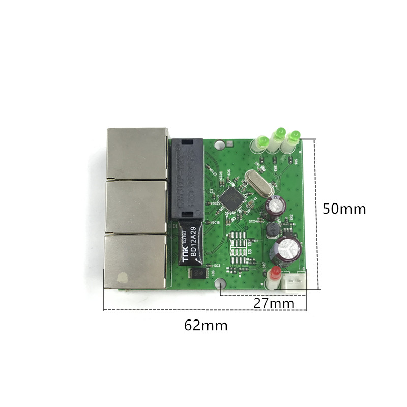 OEM factory direct mini fast 1 /100mbps 3-port Ethernet network lan hub switch board two-layer pcb 2 rj45 1 * 8pin head port 12V