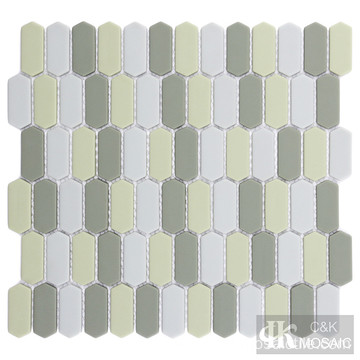 Gray and Green Glass Mosaic Tile Backsplash