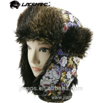Custom ladies fake furry winter hat trapper hat