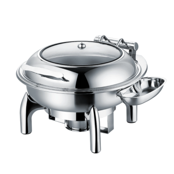 Stainless steel single serving buffet stove with lid