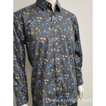 Hot Mens cotton spandex print long sleeve shirt