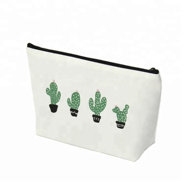 Custom Logo Wholesale Cheap Cactus Pattern Printed Small Canvas Cosmetic Bag