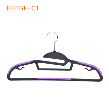 Non-Slip Plastic Hangers With Purple Rubber Pieces