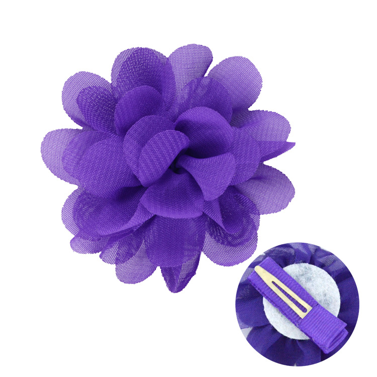 Chiffon flowers with hairpin hair accessories for children (2)