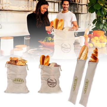 Reusable Linen Bread Bag Drawstring Bag Organic Cotton Bread Storage Bag For Baguette Dropshipping Wholesale