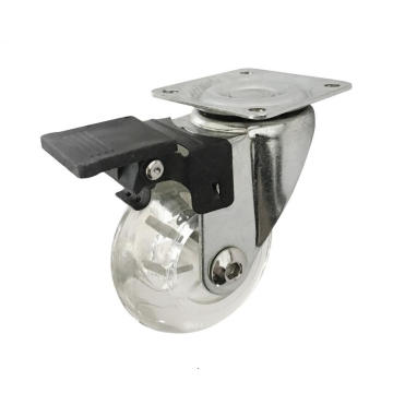35mm Transparent Caster For Furniture With Brake