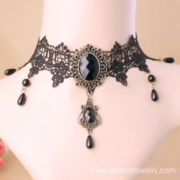 Black Victorian Lace Choker Crystal Choker Necklace 90s