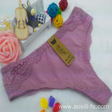 OEM wholesale China cameo brown sexy thong comfortable lace elastic fancy underwear 551
