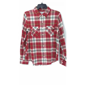 Women's Red and White Check Flannel Shirt