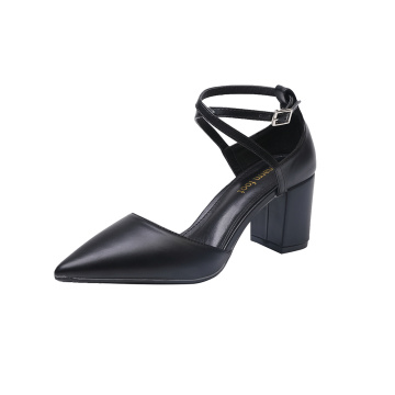 ODM Pointed Toe Leather Rubber Chunky Heels Shoes