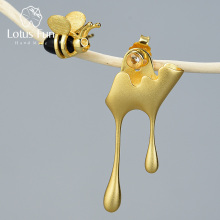 Lotus Fun Real 925 Sterling Silver Handmade Fine Jewelry 18K Gold Bee and Dripping Honey Asymmetric Stud Earrings for Women Gift