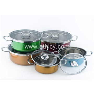 Colorful Korean Style Stainless Steel Cookware Set