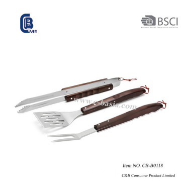 3PCS Wood Handle Barbecue Grilling Tools