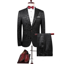 crocodile pattern black jacquard groom suit