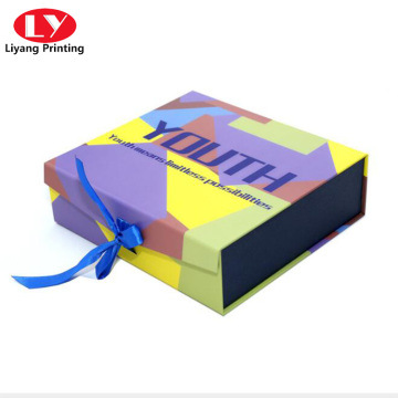 Full color CMYK folding flat box with ribbon