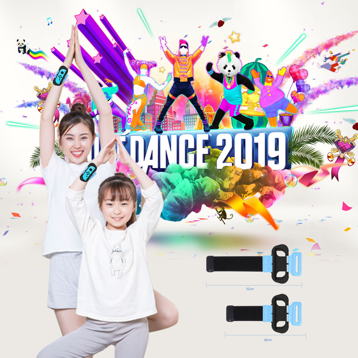 2pcs Game wristband For Nintend Switch Adjustable Elastic dance wrist band Just dance Joy-con controller For NS Game Accessories