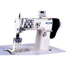 Direct drive post bed double needle compound feed sewing machine