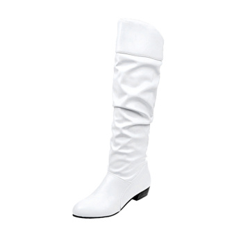Ladies Patent Leather Casual Block Heel Slouch Boots