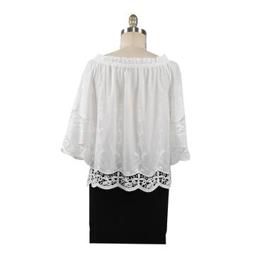 Summer Cotton Blouse Solid Color Leisure Hollow